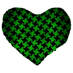 Houndstooth2 Black Marble & Green Brushed Metal Large 19  Premium Flano Heart Shape Cushions