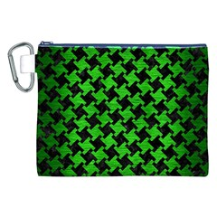 Houndstooth2 Black Marble & Green Brushed Metal Canvas Cosmetic Bag (xxl)