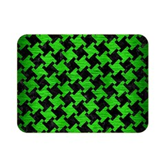 Houndstooth2 Black Marble & Green Brushed Metal Double Sided Flano Blanket (mini)