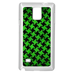 Houndstooth2 Black Marble & Green Brushed Metal Samsung Galaxy Note 4 Case (white)