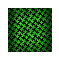 Houndstooth2 Black Marble & Green Brushed Metal Small Satin Scarf (square)