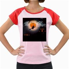 Halloween Landscape Women s Cap Sleeve T Shirt