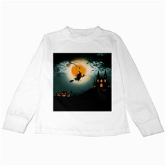 Halloween Landscape Kids Long Sleeve T Shirts