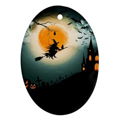 Halloween Landscape Oval Ornament (two Sides)