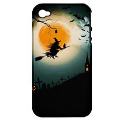 Halloween Landscape Apple Iphone 4/4s Hardshell Case (pc+silicone)