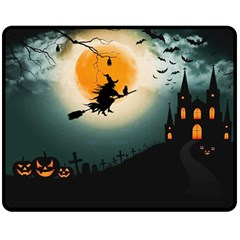 Halloween Landscape Double Sided Fleece Blanket (medium)