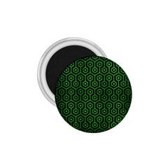 Hexagon1 Black Marble & Green Brushed Metal 1 75  Magnets