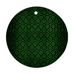Hexagon1 Black Marble & Green Brushed Metal Ornament (round)