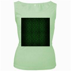 Hexagon1 Black Marble & Green Brushed Metal Women s Green Tank Top