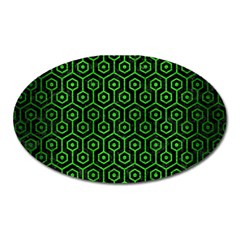 Hexagon1 Black Marble & Green Brushed Metal Oval Magnet