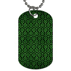 Hexagon1 Black Marble & Green Brushed Metal Dog Tag (one Side)