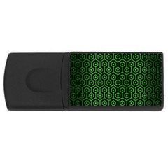 Hexagon1 Black Marble & Green Brushed Metal Rectangular Usb Flash Drive