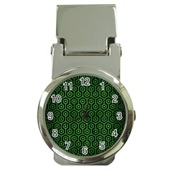 Hexagon1 Black Marble & Green Brushed Metal Money Clip Watches