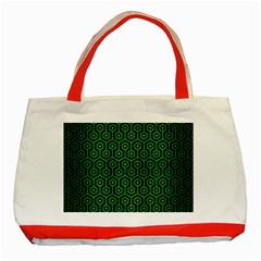 Hexagon1 Black Marble & Green Brushed Metal Classic Tote Bag (red)