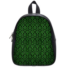 Hexagon1 Black Marble & Green Brushed Metal School Bag (small)