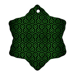 Hexagon1 Black Marble & Green Brushed Metal Snowflake Ornament (two Sides)