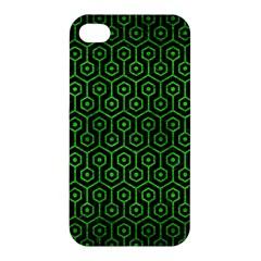 Hexagon1 Black Marble & Green Brushed Metal Apple Iphone 4/4s Hardshell Case