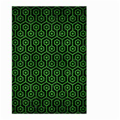 Hexagon1 Black Marble & Green Brushed Metal Small Garden Flag (two Sides)