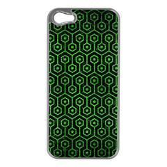 Hexagon1 Black Marble & Green Brushed Metal Apple Iphone 5 Case (silver)