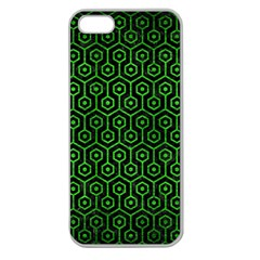 Hexagon1 Black Marble & Green Brushed Metal Apple Seamless Iphone 5 Case (clear)