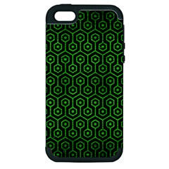 Hexagon1 Black Marble & Green Brushed Metal Apple Iphone 5 Hardshell Case (pc+silicone)