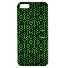 Hexagon1 Black Marble & Green Brushed Metal Apple Iphone 5 Hardshell Case With Stand