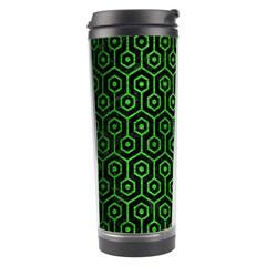 Hexagon1 Black Marble & Green Brushed Metal Travel Tumbler