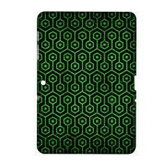 Hexagon1 Black Marble & Green Brushed Metal Samsung Galaxy Tab 2 (10 1 ) P5100 Hardshell Case