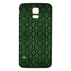 Hexagon1 Black Marble & Green Brushed Metal Samsung Galaxy S5 Back Case (white)