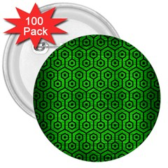 Hexagon1 Black Marble & Green Brushed Metal (r) 3  Buttons (100 Pack)
