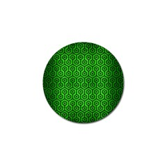 Hexagon1 Black Marble & Green Brushed Metal (r) Golf Ball Marker (4 Pack)