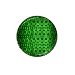 Hexagon1 Black Marble & Green Brushed Metal (r) Hat Clip Ball Marker