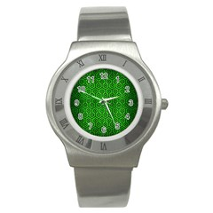 Hexagon1 Black Marble & Green Brushed Metal (r) Stainless Steel Watch