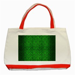Hexagon1 Black Marble & Green Brushed Metal (r) Classic Tote Bag (red)