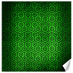 Hexagon1 Black Marble & Green Brushed Metal (r) Canvas 20  X 20