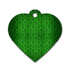 Hexagon1 Black Marble & Green Brushed Metal (r) Dog Tag Heart (two Sides)