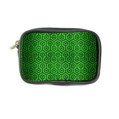 Hexagon1 Black Marble & Green Brushed Metal (r) Coin Purse
