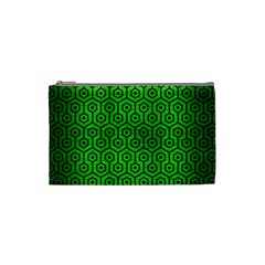 Hexagon1 Black Marble & Green Brushed Metal (r) Cosmetic Bag (small)
