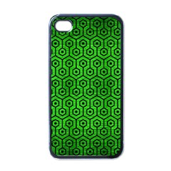 Hexagon1 Black Marble & Green Brushed Metal (r) Apple Iphone 4 Case (black)
