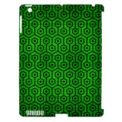 Hexagon1 Black Marble & Green Brushed Metal (r) Apple Ipad 3/4 Hardshell Case (compatible With Smart Cover)