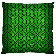 Hexagon1 Black Marble & Green Brushed Metal (r) Large Cushion Case (one Side)