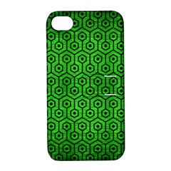 Hexagon1 Black Marble & Green Brushed Metal (r) Apple Iphone 4/4s Hardshell Case With Stand