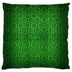 Hexagon1 Black Marble & Green Brushed Metal (r) Large Flano Cushion Case (one Side)