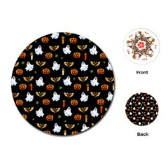 Halloween Pattern Playing Cards (round)