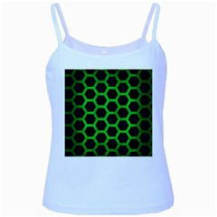 Hexagon2 Black Marble & Green Brushed Metal Baby Blue Spaghetti Tank