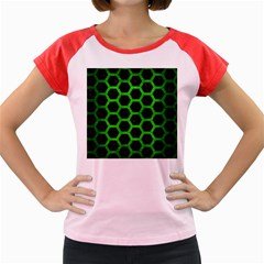 Hexagon2 Black Marble & Green Brushed Metal Women s Cap Sleeve T Shirt