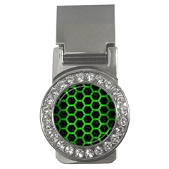 Hexagon2 Black Marble & Green Brushed Metal Money Clips (cz)