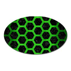 Hexagon2 Black Marble & Green Brushed Metal Oval Magnet