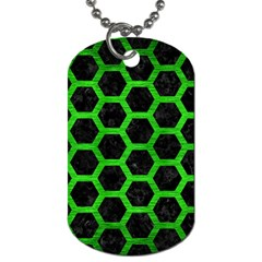 Hexagon2 Black Marble & Green Brushed Metal Dog Tag (two Sides)