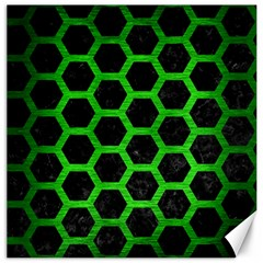 Hexagon2 Black Marble & Green Brushed Metal Canvas 20  X 20